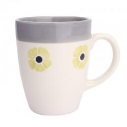Mug flore 30 cl curry et gris
